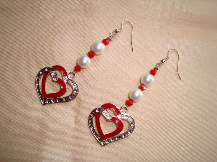 earrings with white pearls, red glass beads and silver double heart red  https://www.facebook.com/pages/Handmade-Creations-by-Efi/187659788043676
