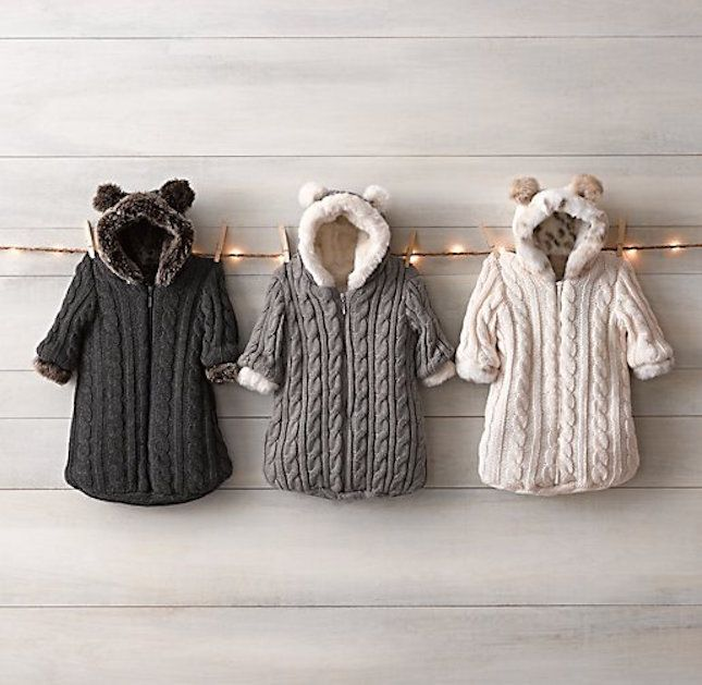 Bundle up your baby in these cable knit buntings.