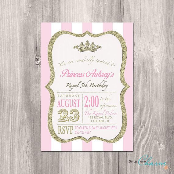 Princess Birthday Invitation Vintage Modern Pink and White Gold Glitter Invitation for Girl Princess Bridal Shower - Printable or Printed on Etsy, $12.00