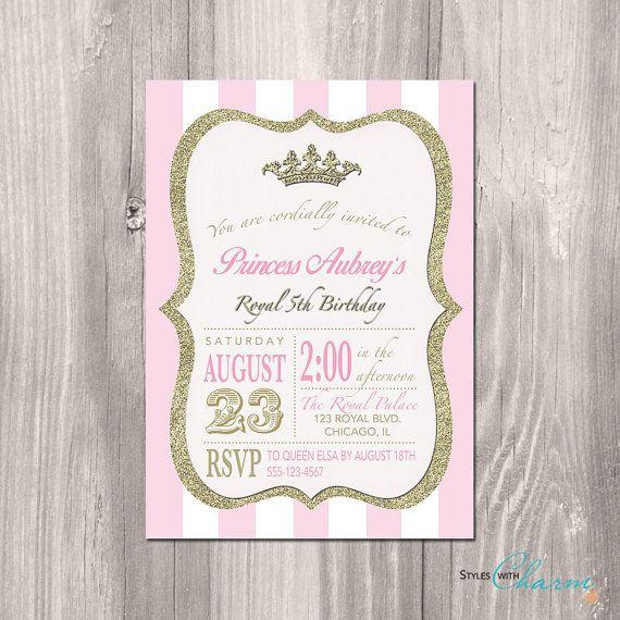 Princess Birthday Invitation Vintage Modern Pink and White Gold Glitter Invitation for Girl Princess Bridal Shower - Printable or Printed on Etsy, $12.00