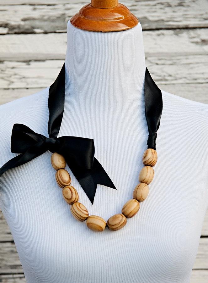 Emerson | Wood Bead & Black Ribbon Necklace