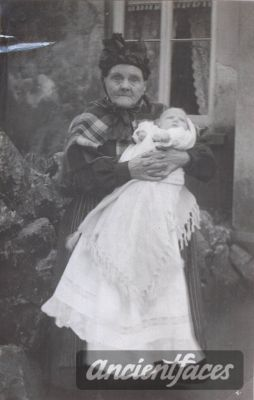 For those of us with Welsh heritage . . . doesn't midwife Mary Morris look the part? She was a popular midwife in Burry Port Wales, and is holding the baby of the photographer in this photo. Original: http://www.ancientfaces.com/photo/mary-morris/349522