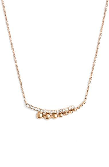 Free shipping and returns on Dana Rebecca Designs Poppy Rae Diamond Pendant Necklace at Nordstrom.com. A gracefully curved bar of channel-set diamonds artfully coalesces with a gradient of 14-karat gold baubles in this versatile pendant necklace on a slender cable chain.