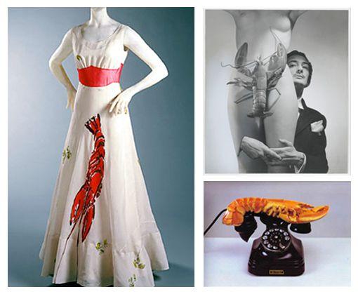 Já o Vestido Lagosta (1937) teve influência de obras em que Dalí incluía lagostas como a Telefone Lagosta (1936).