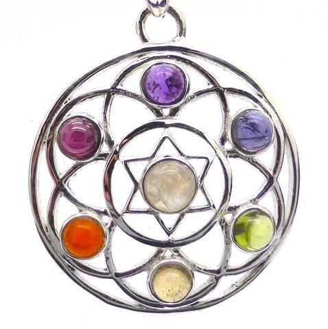 Seed of Life Chakra Pendant | faceted gemstones | 925 Sterling silver | Harmony and Connectedness with All That Is | Flower of Life precursor | Australian Supplier | Melbourne Australia