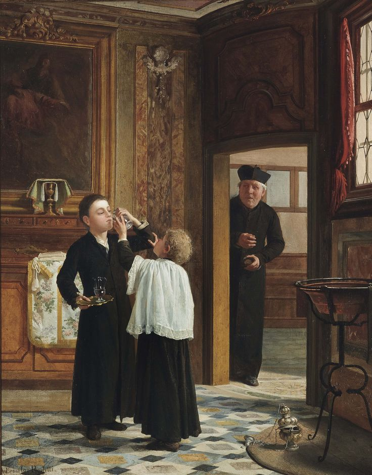ANTONIO PAOLETTI (ITALIAN, 1834 - 1912) 'STEALING A SIP OF THE COMMUNION WINE' SIGNED, INSCRIBED AND DATED 'A. ERMOLAO PAOLETTI / VENEZIA 1878' (LOWER LEFT) OIL ON CANVAS 32.3/8 X 25.3/4 IN. (82 X 65 CM.)