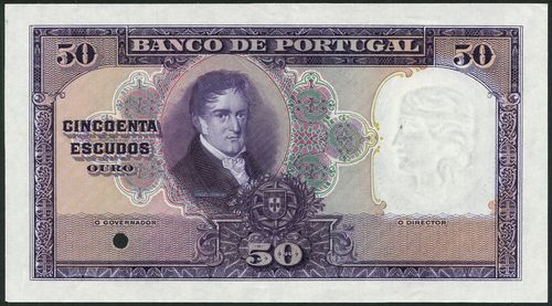 (†) Banco de Portugal, specimen proof 50 Escudos, ND (ca 1929), no serial numbers, no signature, violet and multicoloured, portrait of Borges Carneiro at left centre, arms and value at lower centre, reverse blue on pale green and purple underprint, Coimbra University at centre, medallic female head at right, one punch hole