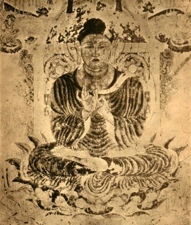 Amida Buddha wall painting in the Horyuji, Nara, Japan by 700 (an Indian celestial Buddha) From Die Kunst Ostasiens by Werner Spieser, Safari Verlag, Berlin, 1946