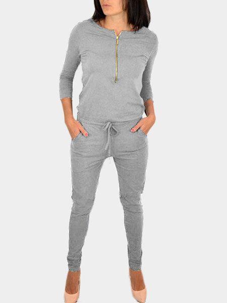 Grey Zipper 3/4 Length Sleeves Drawstring Waist Jumpsuit