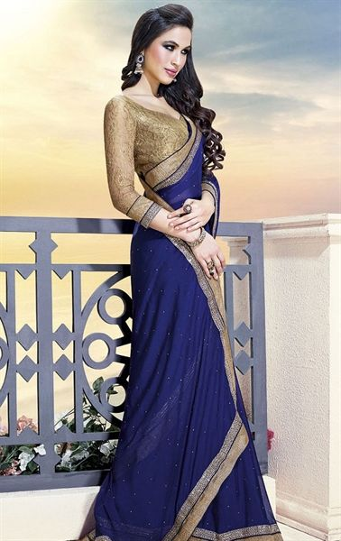Picture of Indian Ethnic Navy Blue Wedding Saree Online Shopping