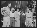 Production. Launching of the SS Booker T. Washington. Marian Anderson, celebrated contralto who sponsored the SS Booker T. Washington, and Mrs. Mary McLeod Bethune, Director of Negro Affairs, National Youth Administration (NYA), are shown with a group of Negroes workmen who helped construct the first Liberty Ship named for a Negro at the California Shipbuilding Corporation's yards at Wilmington, California