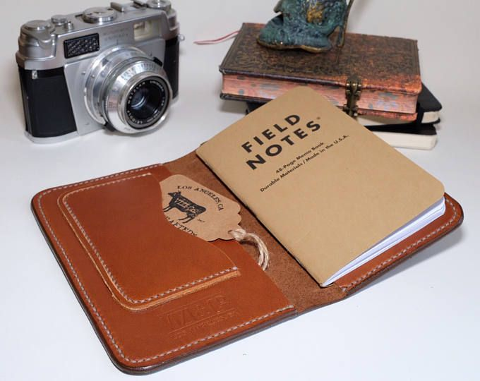 Handmade brown leather field notes notebook passport case wallet with pockets card slot