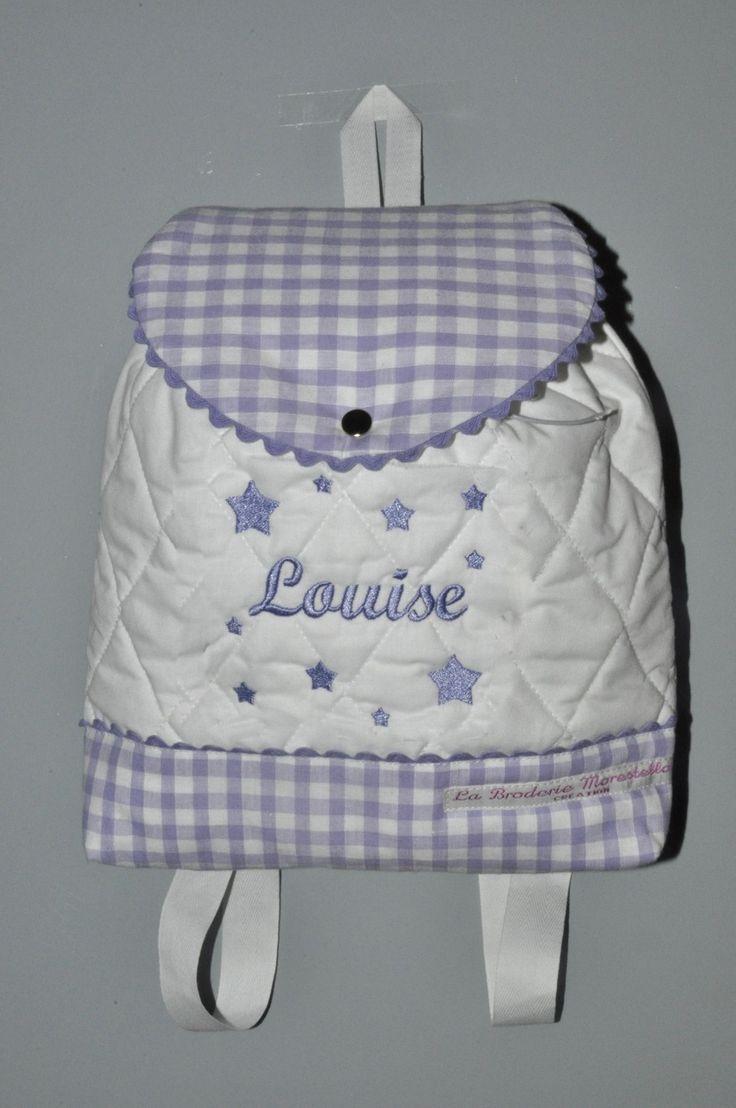 Sur commande:Sac a dos mauve violet enfant étoiles brodées personnalisé au nom : Sacs à dos, cartables par lbm-creation