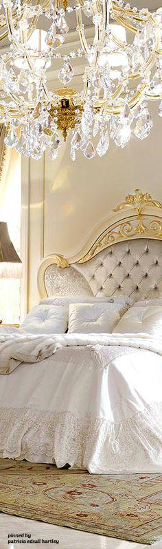 Chrystal chandelier in bedroom