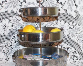 Tidbit tray 3 tiered farmhouse cake pan vintage bakeware  kitchen organizer industrial décor k cup holder, beverage station