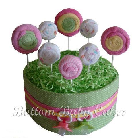 Lollipop Garden of Goodies Diaper Cake, Girl Diaper Cake, Baby Diaper Cakes. $39.95, via Etsy.