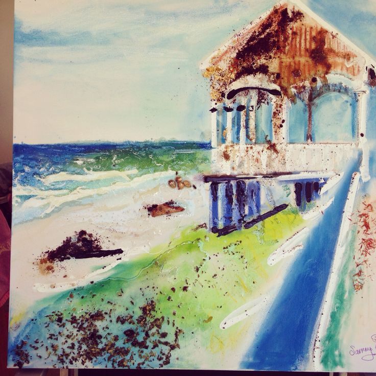 Kirra Beach pagola for sale. Mixed media. Pastels, acrylic, herbs and spices. $350 sam@sambeaupatrick.com