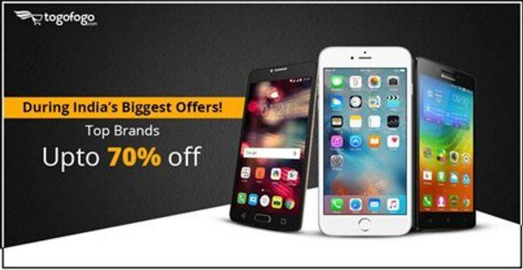 India's Biggest Offer available on top Brands. Upto 70% off. #Apple #Samsung #Motorola etc.Buy now: http://bit.ly/2qClCZ5 #Togofogo