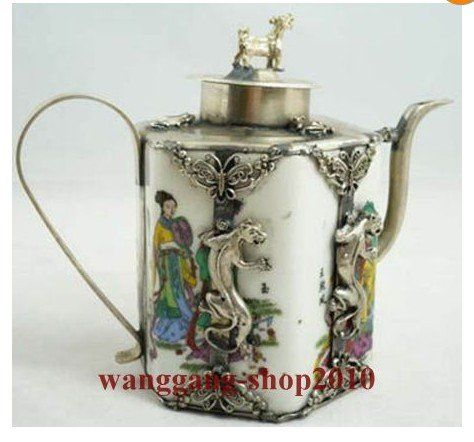 Collectibles china wit porselein inlay tibet zilver gekko theepot aap deksel