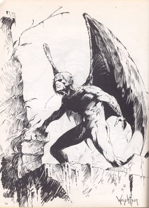 Early Wrightson fanzine drawing.