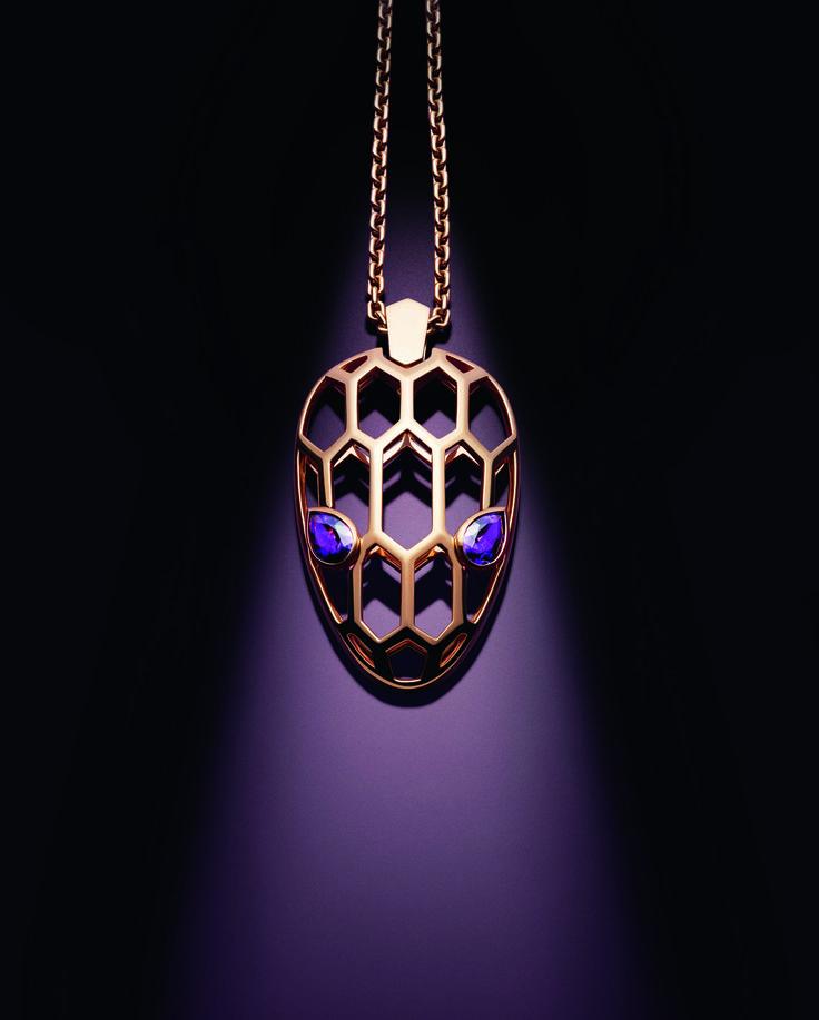 Bulgari Serpenti Seduttori pendant necklace in rose gold with amethyst eyes.