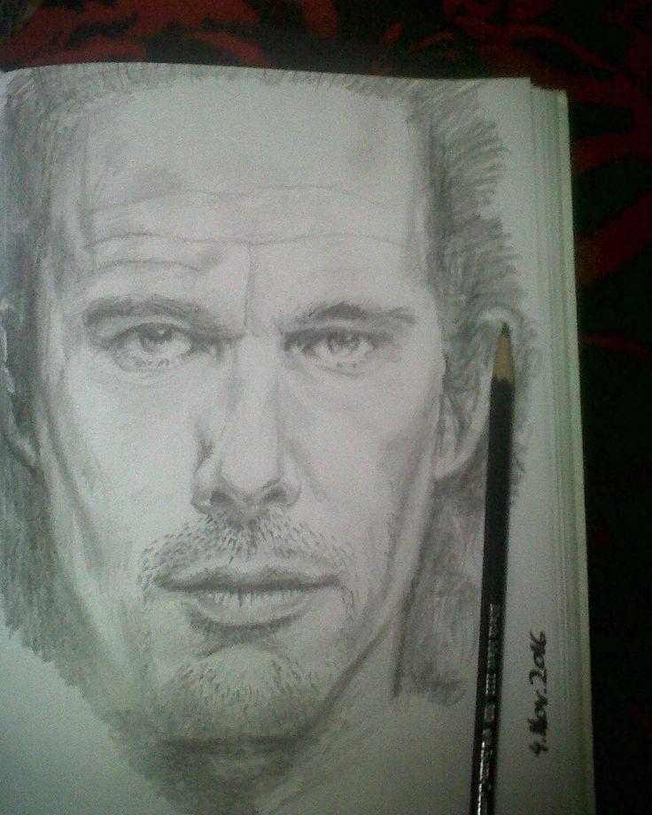 pencil portrait of Ethan hawke