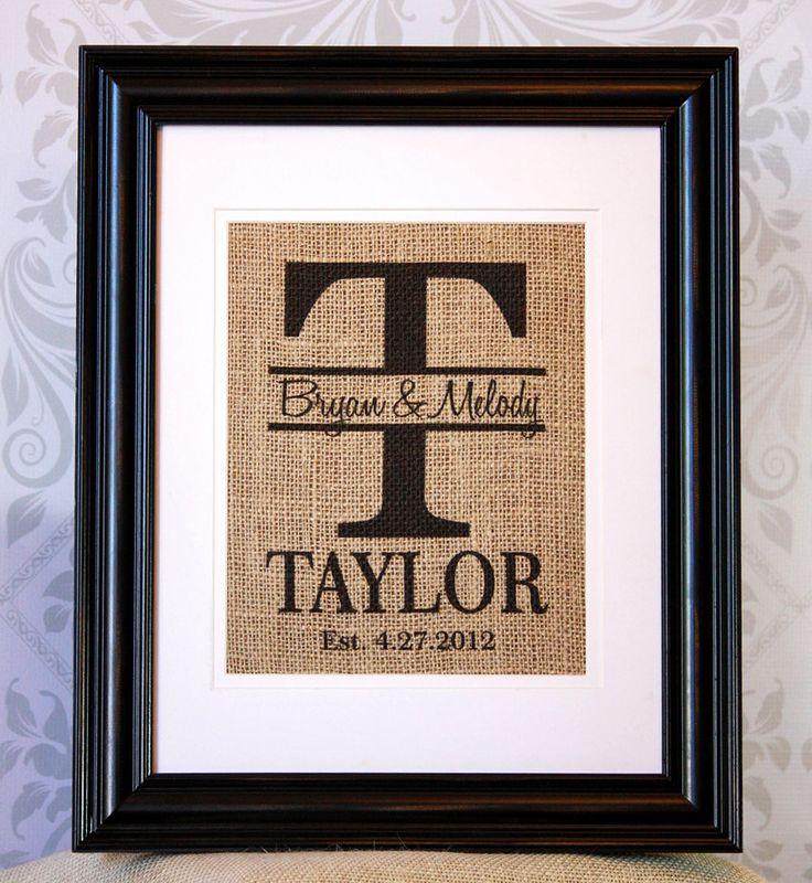Personalized Burlap Monogram Family Name Established date Print or Sign - Keepsake Wedding Gift. $20.00, via Etsy.