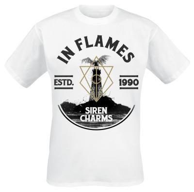 """Classica T-Shirt bianca """"Lighthouse"""" degli #InFlames con ampia stampa in nero sulla parte frontale."""