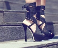 black heels: Black Ties, Fashion Shoes, Black Shoes, Lace Up Heels, Black Heels, High Heels, Fashion Photography, Girls Shoes, Louis Vuitton Bags