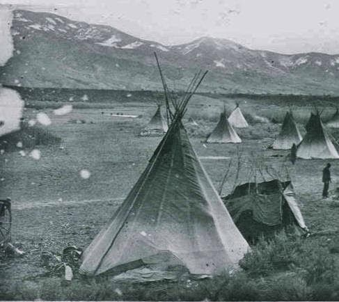 Shoshone Indian village tipi in Idaho. Photo taken in 1882
