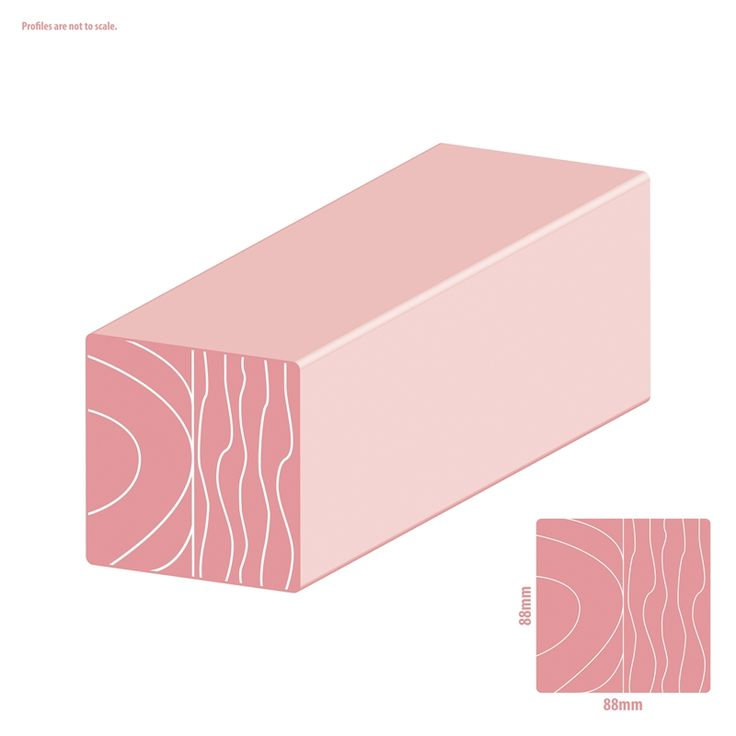 Woodhouse 88 x 88mm 2.4m H3 Pink Primed Treated Architectural Pine