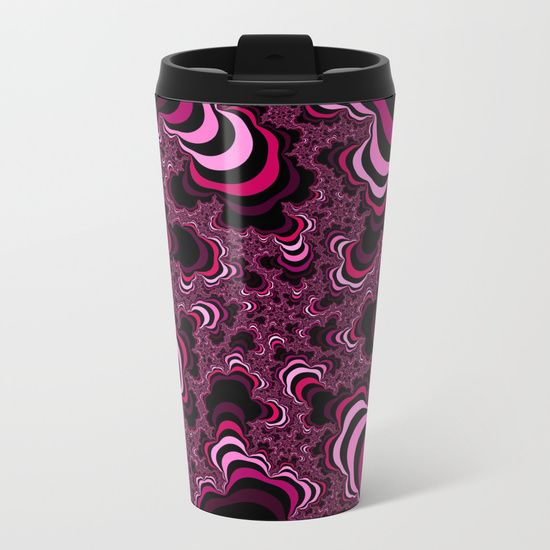 Abstract pattern. Computer generated fractal. Bright pink color. Funny stripped picture. Metal travel mug