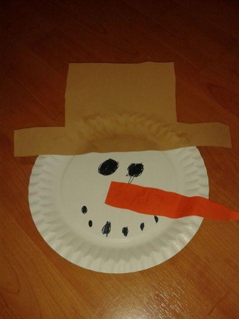 sněhulák - hlava z papírového tácku