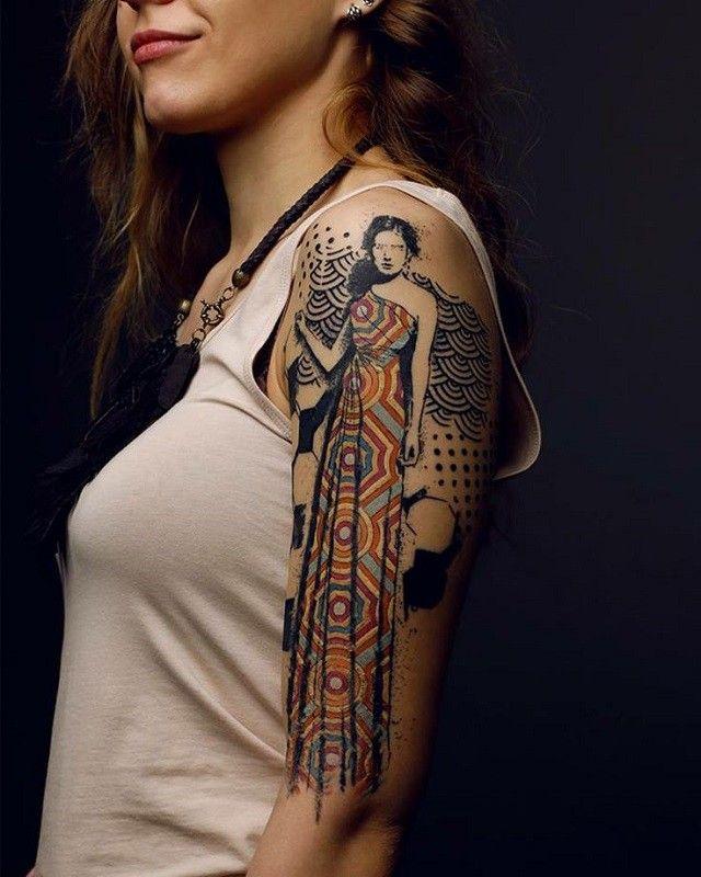 Le style graphique: Un style qui ne répond à aucune règle, qui s'est affranchi des codes des autres styles. Un tatouage aux avant-gardes résolument tourné vers les arts graphiques et l'illustration.