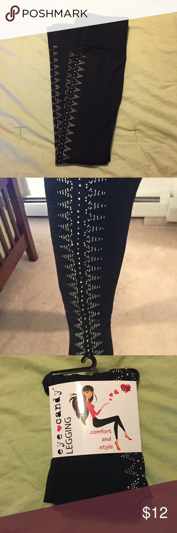 "Eye Candy Sparkly leggings. Size Large/xlarge  Eye Candy Sparkly fleece lined leggings. Size Large/xlarge. (Height 5'9""-6' & 155-225 lbs). Poly/spandex Eye Candy Pants Leggings"