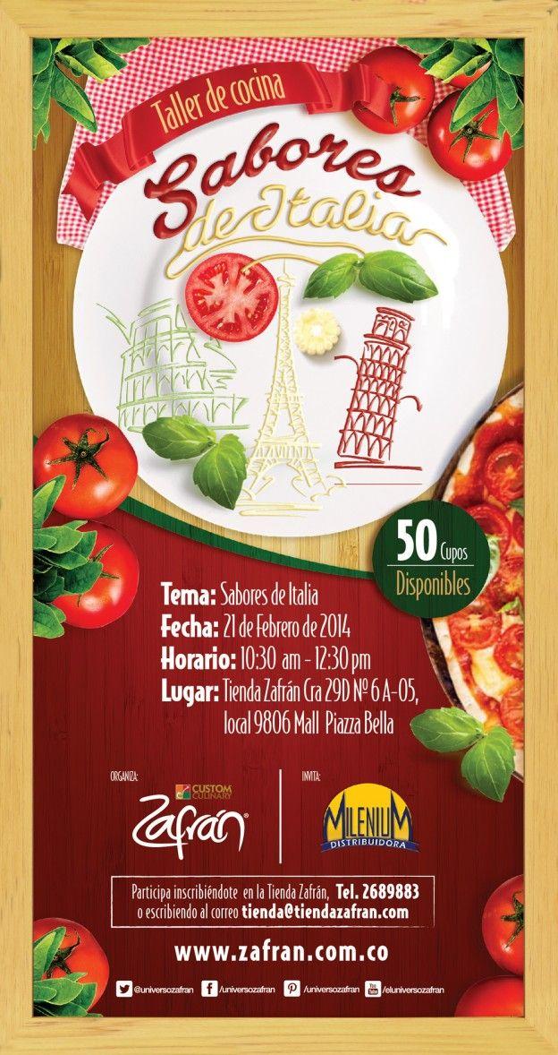 Un Taller espectacular, con los mejores sabores de Italia. Descarga el recetario del Taller en el siguiente enlace: http://www.zafran.com.co/sabores-de-italia/