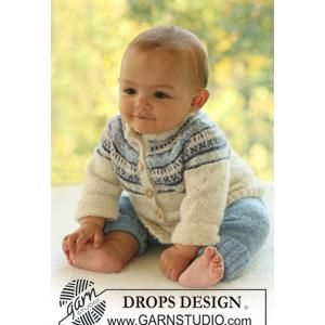 Babies' Cardigan Knitting Pattern with Raglan Sleeves with Design in DROPS