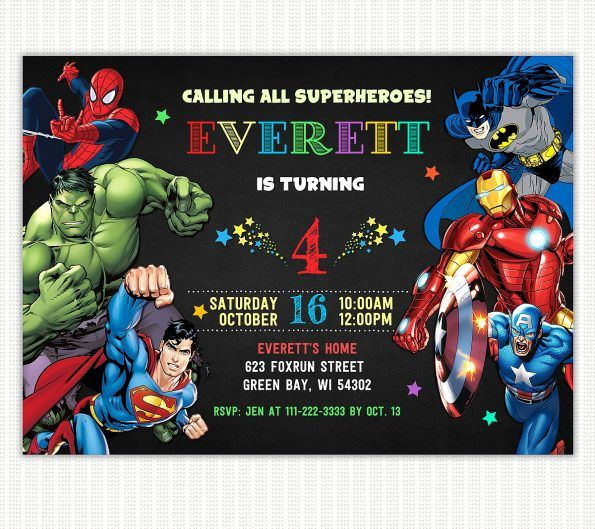 birthday invitation card superhero