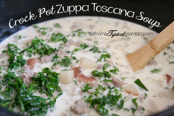 Crock Pot Zuppa Toscana Soup Recipe from Tips From a Typical Mom.  This soup tastes JUST like the one from Olive Garden.  This is by far my favorite soup~!
