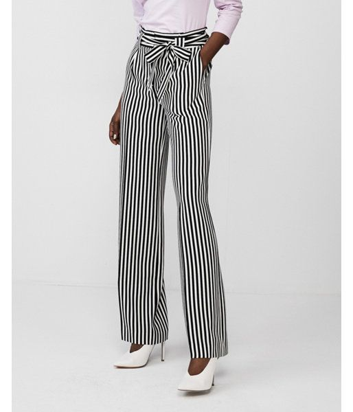 17ef0caff01a Striped High Waisted Sash Tie Wide Leg Pant Black And White Women's 16 Short