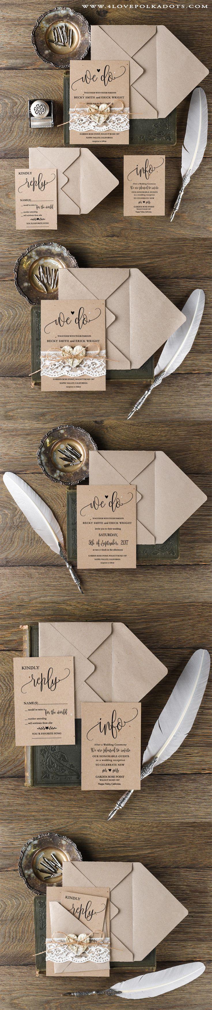 We Do ! Romantic Wedding Invitation Design ! Lace, Twine & Birch Bark Heart…