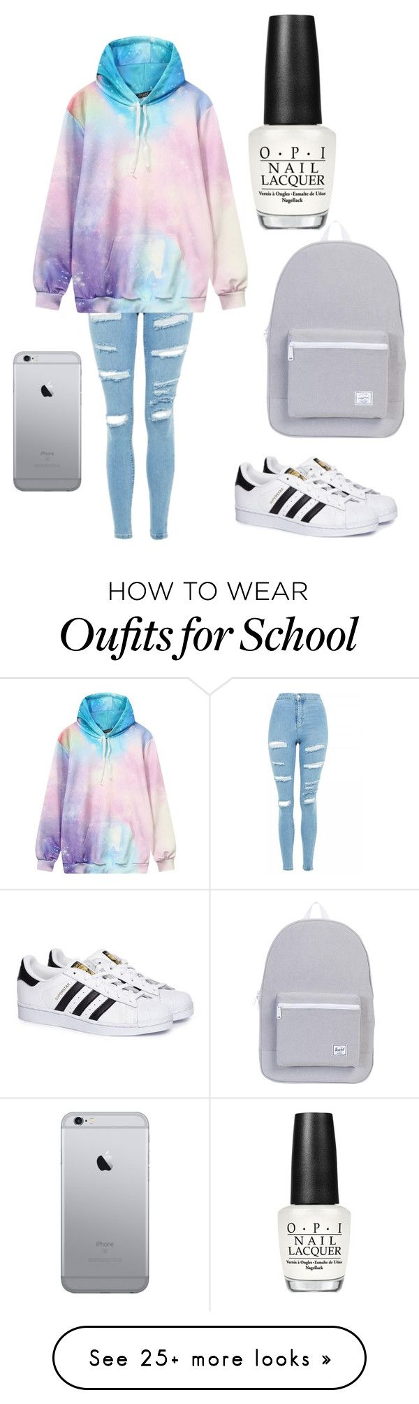 """‍♀️"" by pinguinfan on Polyvore featuring adidas, Topshop, OPI and Herschel Supply Co."