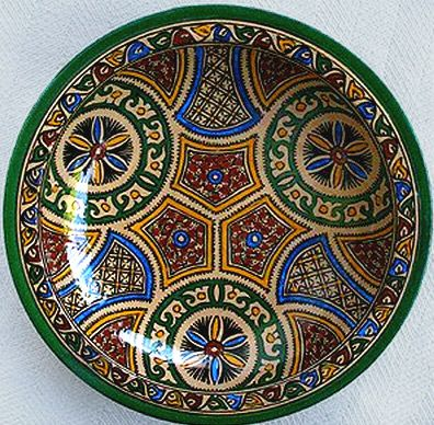 hand painted pottery plate from Safi, Morocco