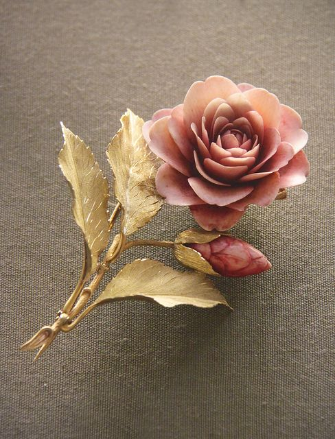 Camellia spray with carved and tinted ivory petals and coloured-gold leaves, English, 1860 | Flickr - Photo Sharing!
