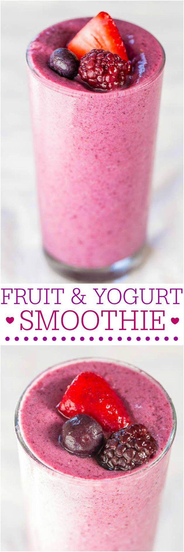 Frutas y Yogurt Batido - A sólo 3 ingredientes y sin azúcar añadido en este batido dulce y cremoso!  Me encanta cuando los gustos sanos tan bueno !!