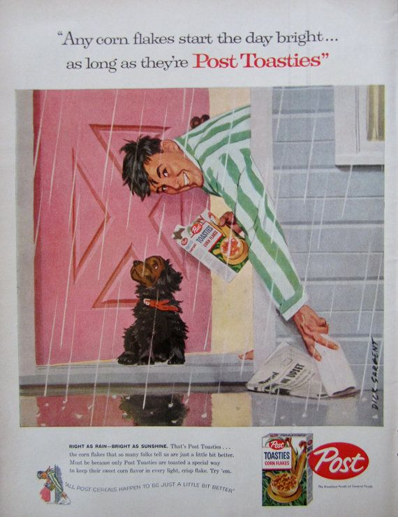 1957 Post Toasties Corn Flakes Cereal Vintage Advertisement by RelicEclectic, $8.00