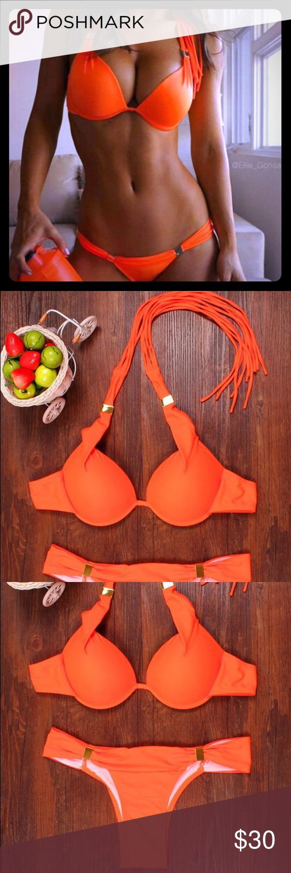 NWT Orange fringe bikini Swimsuit Size M-L Just got these in.. New in package. Bright orange fringe bikini. Great summer color.  Smoke/Pet free home. Fast shipping... Swim Bikinis