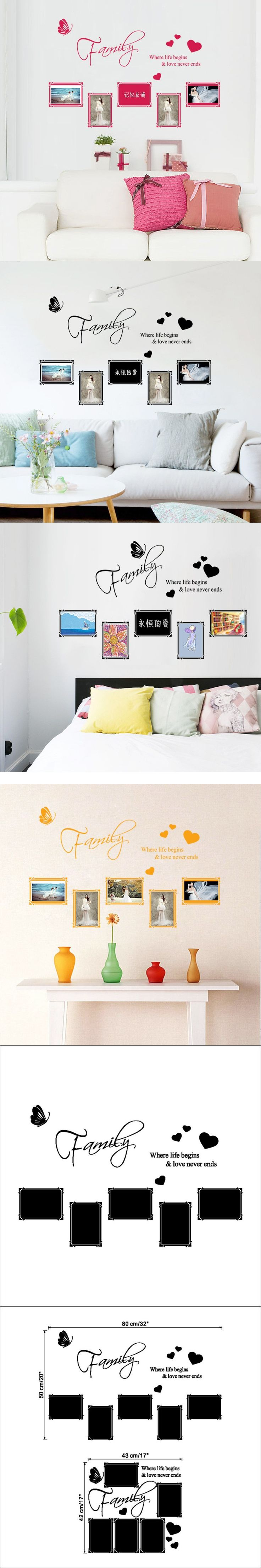 English Love Butterfly Photo Frame Wall Stickers, Wall Stickers Warmly Decorated Home Arts Series ZY8562A $8.98