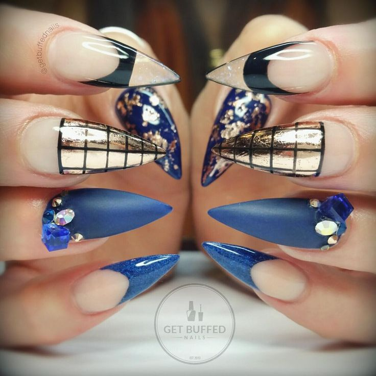 Black Stiletto Nails With Rhinestones Navy Blue, Bronze, and...