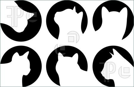 cat silhouette clip art | Illustration of Heads of cats, Logo cats, cat buttons, cat icon...
